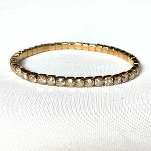 Swarovski Gold Plated Brass Stretch Bracelet NWT